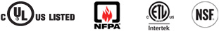 Approved by Underwriters Laboratories of Canada for compliance with both Canadian and U.S. requirements and National Fire Protection Association