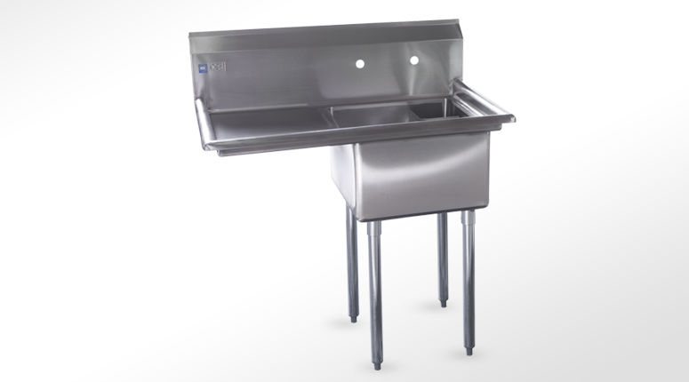 Grades Of Stainless Steel Sinks : Compartment Stainless Steel Sink, with left DrainBoard