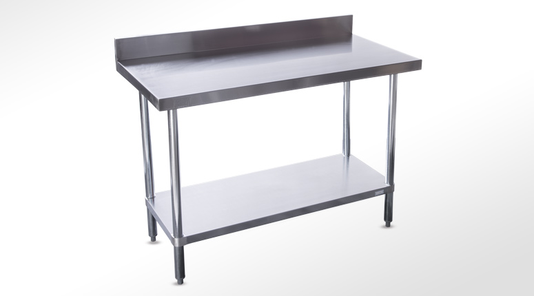 Stainless Steel Table With Backsplash